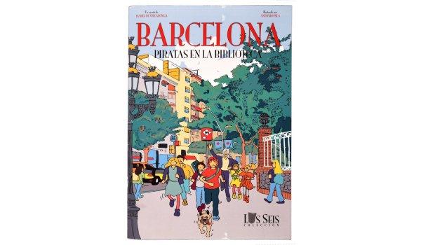Imatge de la coberta del llibre 'Los seis en Barcelona. Piratas en la biblioteca'