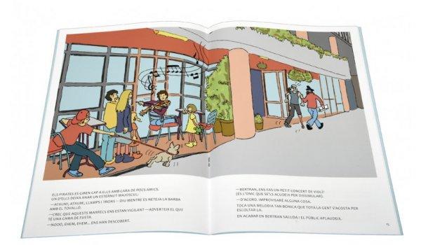 Imatge de les pàgines interiors del llibre 'Els sis a Barcelona. Pirates a la biblioteca'