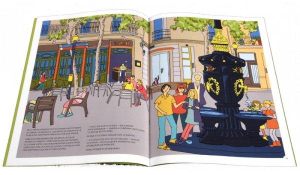 Imatge de les pàgines interiors del llibre 'Los seis en Barcelona. Sants-Montjuïc está hechizado'
