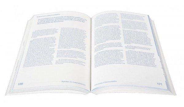 Imatge de les pàgines interiors del llibre 'Innovación en vivienda asequible. Barcelona 2015 - 2018'