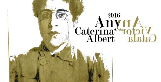 """Imatge creada a partir d'un """"Autoretrat"""", de Caterina Albert. 1886. Carbó sobre paper. Es conserva a l'Arxiu Museu Víctor Català de l'Escala. És un dibuix inèdit de l'escriptora"""