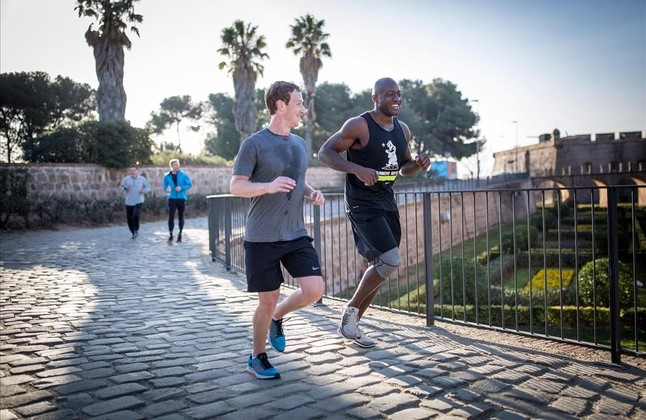 Mobile world congress, Mark Zuckerberg, Castell, Montjuïc running