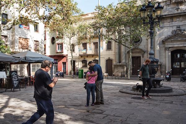 Plaza en el barrio de la Barceloneta