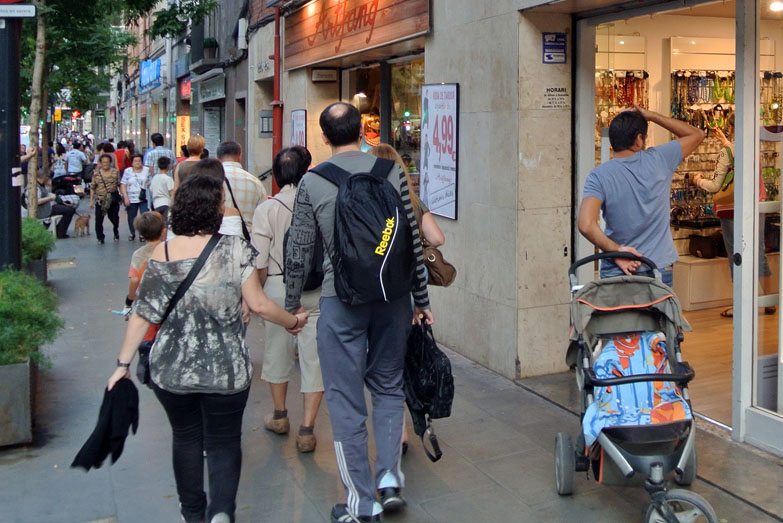 Carrer de Sants, one of the most important shopping hubs of the city