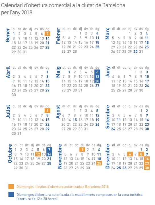 Calendario Del Barcelona.Calendario De Apertura Comercial En Barcelona Para El Ano 2018
