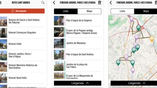 "Details of ""Sant Andreu té molts punts"", a mobile app featuring geolocalised pedestrian routes"