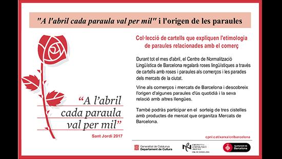 """Els mercats de Barcelona s'afegeixen a la campanya """"A l'abril cada paraula val per mil"""""""