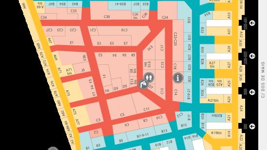 Mapa de les botigues associades a Encants Nous eix comercial i els carrers on estan situades