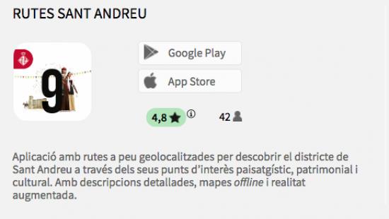 The mobile app Rutes Sant Andreu