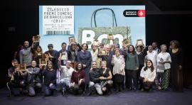 Foto de família dels guanyadors del premi Comerç de Barcelona 2018