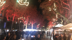 Christmas lights in La Rambla of Barcelona