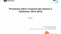 "Cover study ""Forecasts on the Development of Consumerism in Catalonia, 2012-2022"""