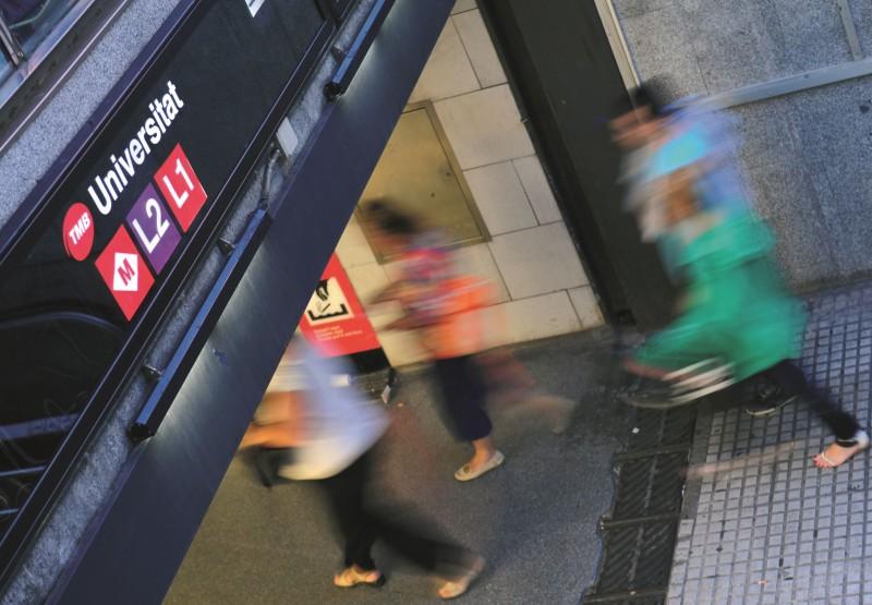 Estació de metro d'Universitat, a Barcelona.