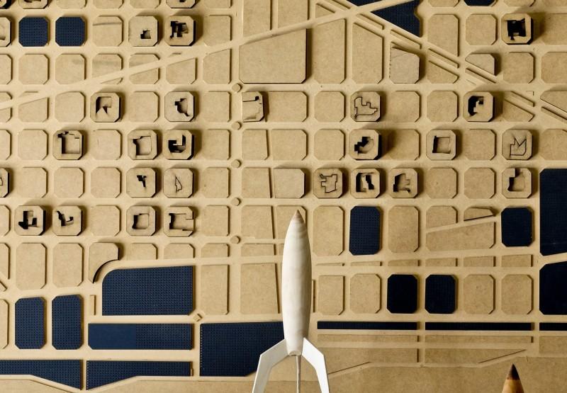 Maqueta de Barcelona en un espacio maker de Poblenou.