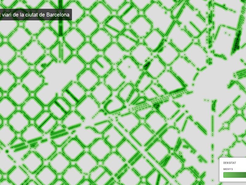 Mapa de l'arbrat viari de la ciutat al portal Open Data BCN.