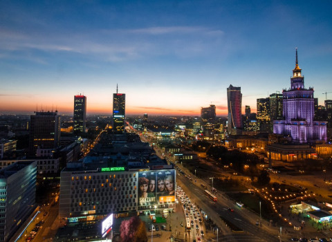 Panoramic night of Warsaw.