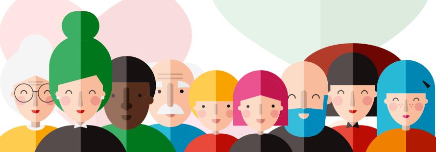 Dibujos de personas que representan los diferentes tipos de familias