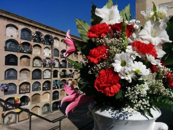 Imatge d'un cementiri amb un ram de flors en primer terme i uns nínxols al fons