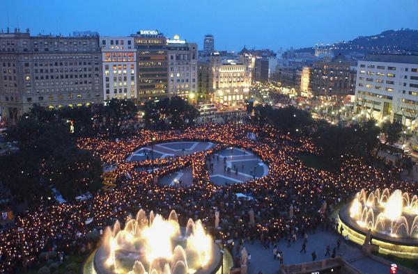 Peaceful demonstration at Plaça Catalunya