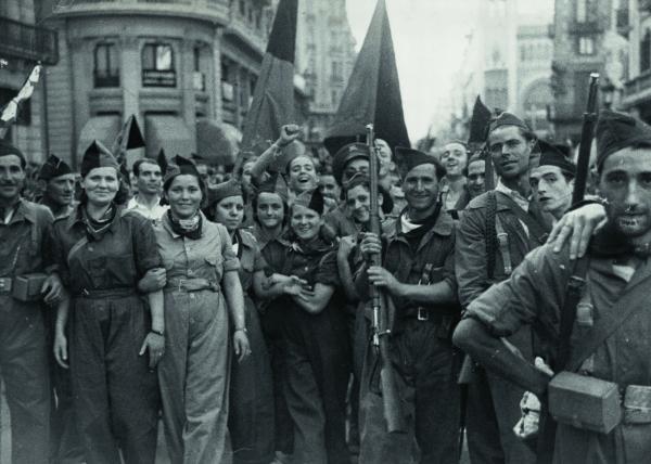 Imatge d'arxiu de les milícies anrquistes durant la guerra civil, any 1936