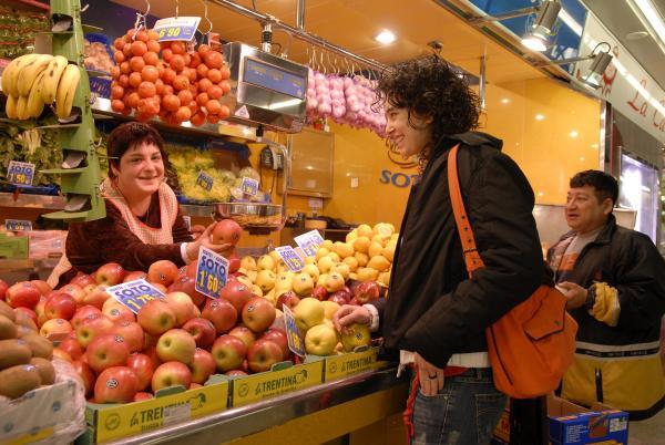 Parada de fruita d'un mercat