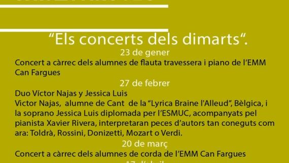 Cartell Programació Concerts dels dimarts