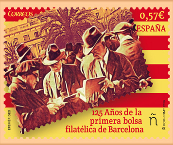 Stamp to commemorate the 125th anniversary of the first Barcelona Philately Exchange
