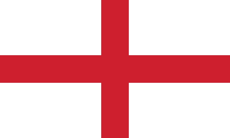 Bandera d'Anglaterra amb la creu de Sant Jordi. Font: Wikipedia