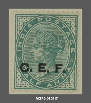 Half Anna, segell de la China Expeditionary Force (CEF) del govern britànic a l'Índia, 1900. Col·lecció Ramon Marull.