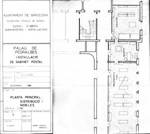 Palau de Pedralbes. Plànol amb la distribució dels espais del MGPB. Font: MGPB-ICUB