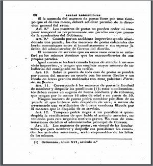 Reglament per al servei de les postes, 1844.