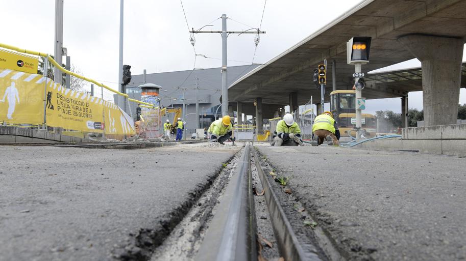 Obras en las vias del tranvía