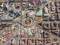 Foto aèria de l'entorn de Glòries. Febrer de 2014