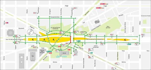 Mapa transport public i vianants