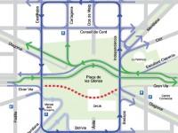 Mapa amb la mobilitat als entorns Glòries a partir del 22 de febrer
