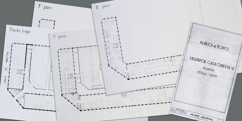 Plànol 124, a escala 1/200, de les plantes de la fàbrica Salvador Casacuberta. J. Balaguer / A. Surinyach. Fotògraf: Pep Parer Farell. Fons fotogràfic: Districte de Gràcia. Any 1971