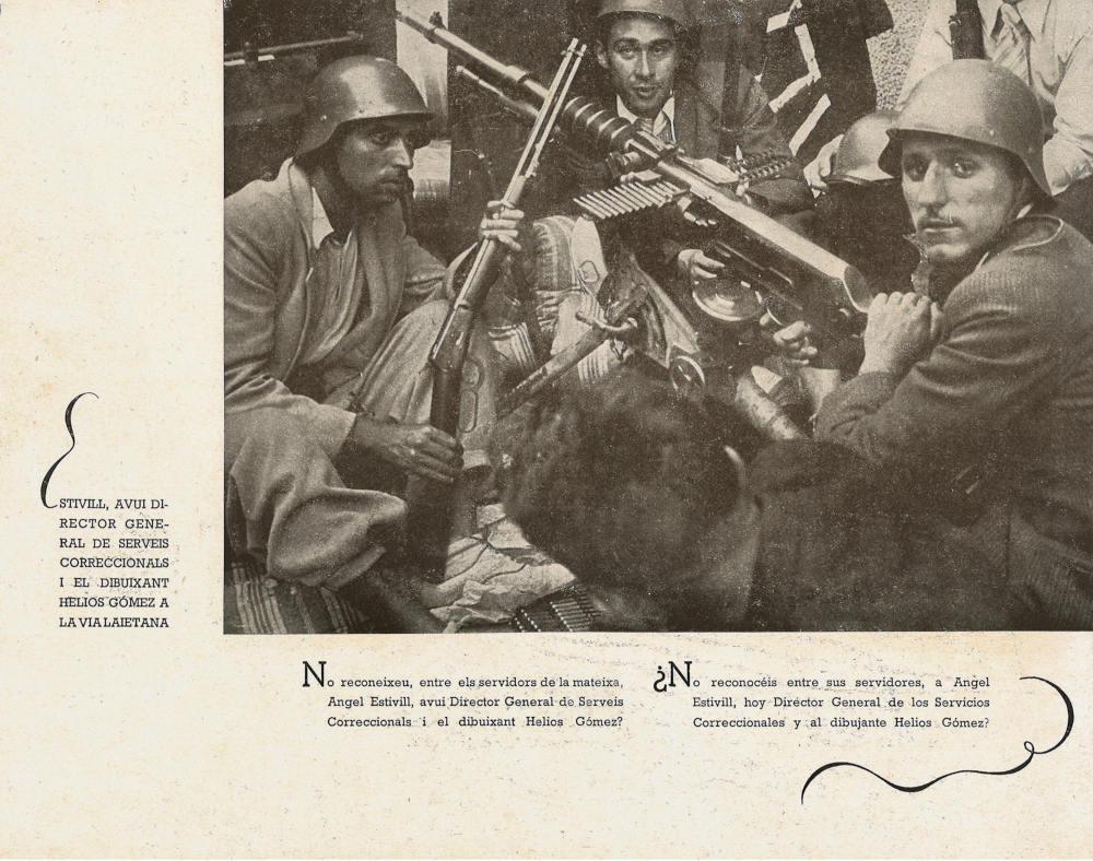 Helios Gómez toma las armas contra el golpe de estado del 18 de julio en las calles de Barcelona (1936), revista «Visions de Guerra i de Rereguarda», núm. 1 (Barcelona, 1937)