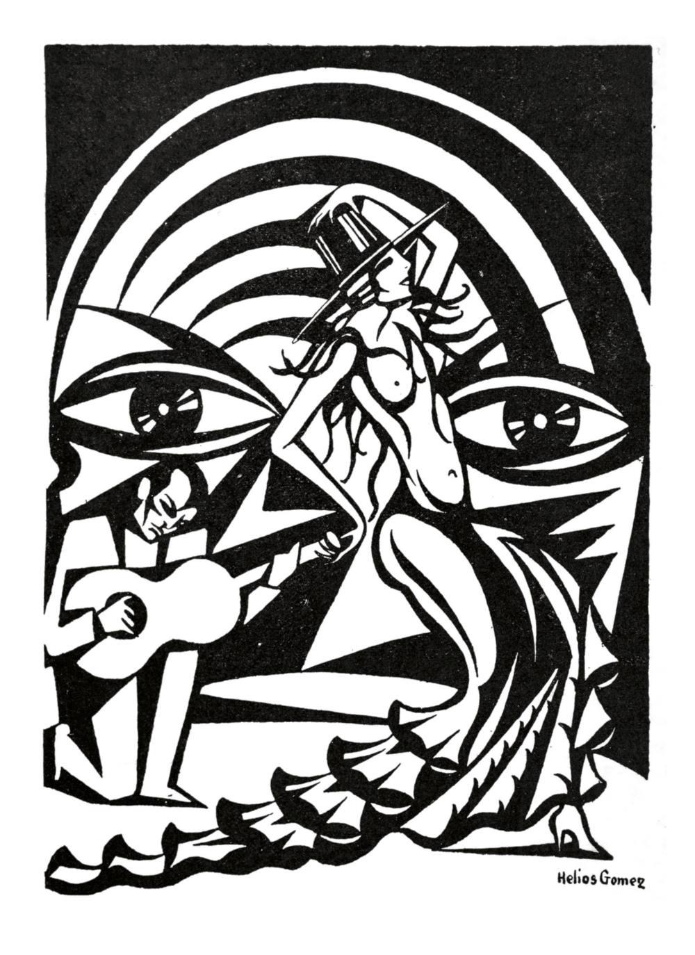 «En el café cantante», ilustración para el artículo «Me parece que he amado en Sevilla», de Alberto Insúa, publicado en la revista «Las Fiestas de Sevilla», 1928