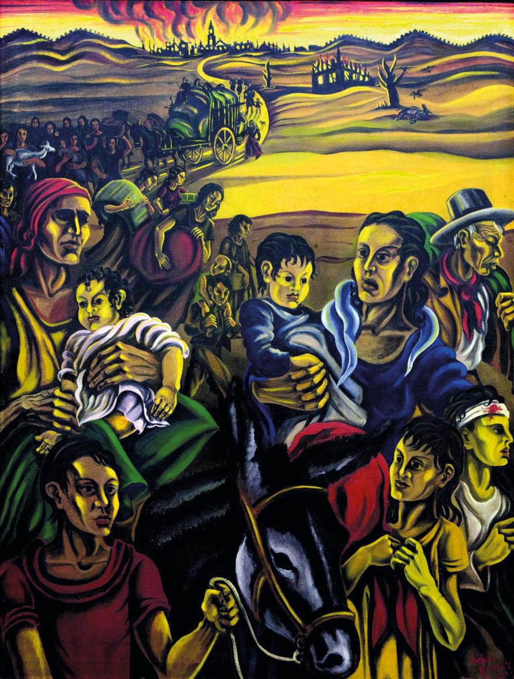 «Evacuación», obra expuesta en el Pabellón de la República Española en la Exposición Internacional de París (1937). Museu Nacional d'Art de Catalunya, depósito de Gabriel Gómez Plana, 2003