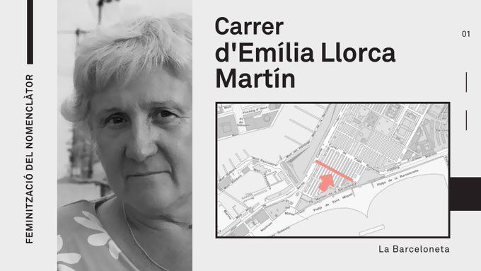 Canvi de nom del carrer de l'Almirall Aixada per carrer d'Emília Llorca Martín