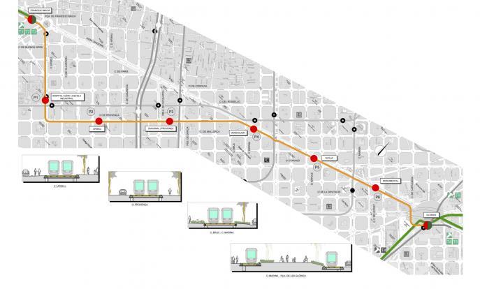 Detalls de traçat i parades de l'alternativa 3