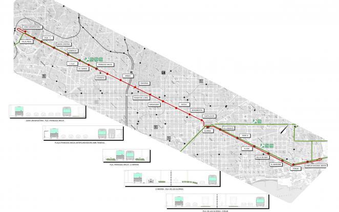 Detall de traçat i parades de l'alternativa 4