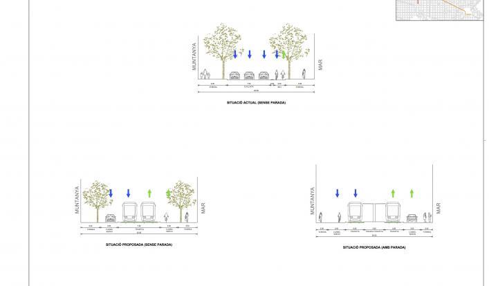 Secció comparativa de l'alternativa 3
