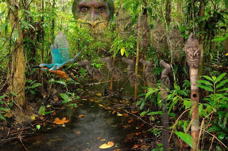 Fotomuntatge amb flautes de Papua Nova Guinea (Oriol Rossinyol)