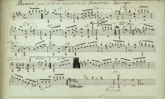 Manuscrit de la Pavana per a guitarra de Francesc Tàrrega, del fons de l'Arxiu històric del Museu