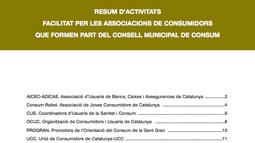 Portada del Resumen de actividades de las asociaciones de consumidores del Consejo Municipal de Consumo. 2008