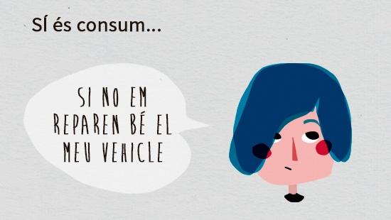 Exemple: es considera consum si no han reparat correctament el vehicle d'un consumidor