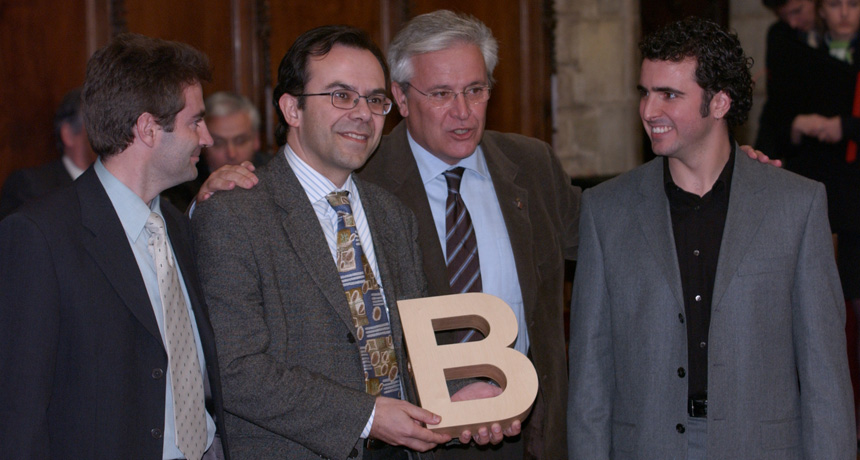 Josep Samitier, Manel Puig-Vidal, Carole Rossi i Ignasi Garcia - Premi Ciutat de Barcelona d'Investigació Tecnològica 2003
