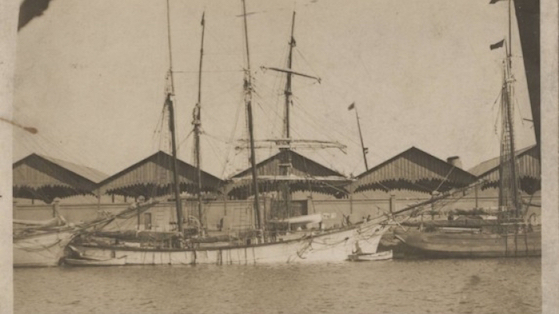 Vaixell de veles al port de Barcelona. 1925-1930 aprox Esteve Bosch i Ribas.