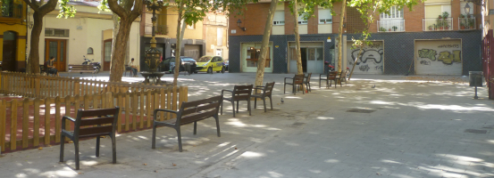 Plaça del Fènix, al barri de la Bordeta